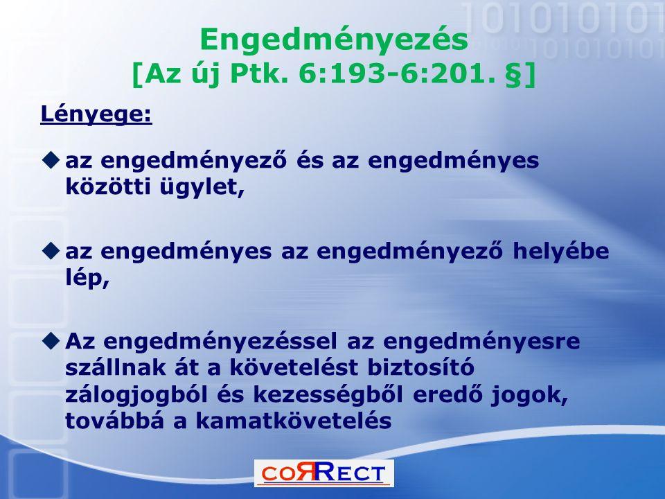 Engedményezés [Az új Ptk. 6:193-6:201. §]